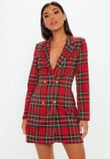 MISSGUIDED red checked blazer dress / plunging jacket dresses / tartan