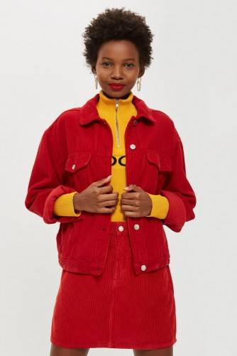 Topshop Red Corduroy Denim Set – cord skirt and jacket