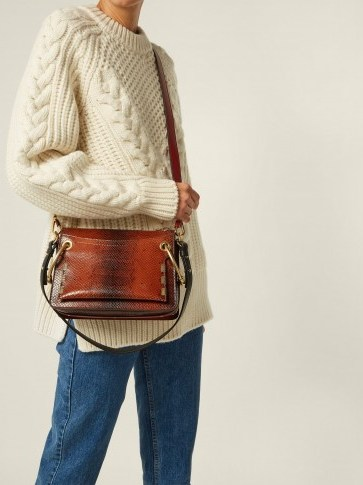 CHLOÉ Roy small snake-effect brown leather shoulder bag ~ casual luxe - flipped