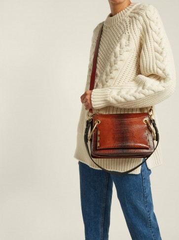 CHLOÉ Roy small snake-effect brown leather shoulder bag ~ casual luxe