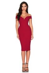 Nookie Elena Midi in Ruby | glamorous red plunging bardot bodycon