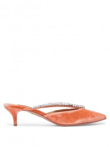 AQUAZZURA Sabine 45 peach-pink velvet mules – luxe kitten heels