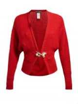 DOLCE & GABBANA Safety-pin red wool-blend cardigan ~ beautiful Italian knitwear
