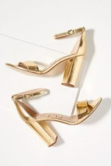 Sam Edelman Tura Metallic-Leather Block Heels Gold ~ glamorous party shoes