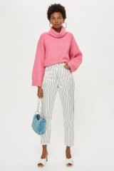 Topshop Sateen Side Striped Mom Jeans in White