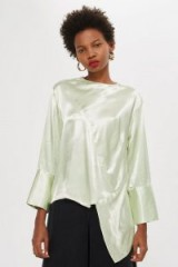TOPSHOP Satin Asymmetric Tunic in Mint / shiny pale green tops