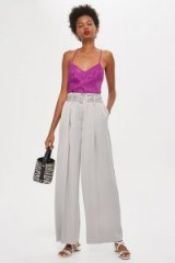 Topshop Grey Satin Culottes | slinky wide leg trousers