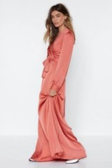 Nasty Gal Satin Lover Maxi Dress Rust – long wrap style dresses