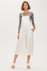 TOPSHOP Satin Strappy Jumpsuit in ivory / silky fabric