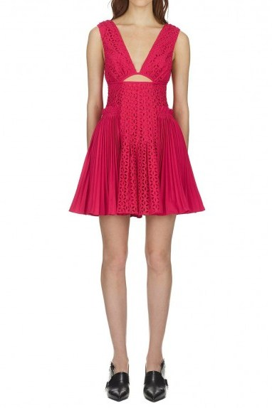 Self Portrait Cut Out Broderie Anglaise Mini Dress - flipped