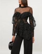 SELF-PORTRAIT Embellished-detail black lace top