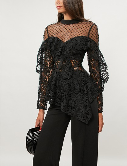 SELF-PORTRAIT Embellished-detail black lace top