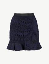 SELF-PORTRAIT Frilled-trim navy lace mini skirt