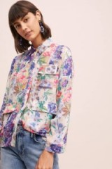 Anthropologie Semmie Floral-Printed Silk Shirt | painterly prints
