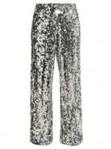 MM6 MAISON MARGIELA Silver Sequinned mesh wide-leg trousers