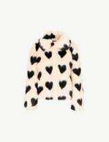 SHRIMPS Cullen faux-fur heart print jacket sand/black