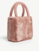 SHRIMPS Una dusty-pink faux-fur bag – small luxe handbag