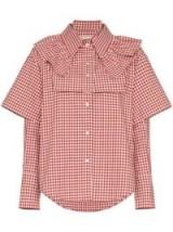 SHUSHU/TONG double sleeve and ruffle gingham cotton shirt / red and white checks / ruffled neck