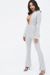 Lavish Alice signature silver iridescent sequin deep plunge jumpsuit | glamorous party wear