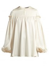 ALEXANDER MCQUEEN Ivory Silk smocked sleeve blouse | luxe tops
