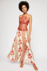 Free People Silk Road Co-Ord ivory combo / red floral boho outfit