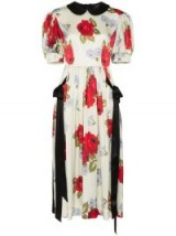 SIMONE ROCHA contrast floral print silk dress / puffed sleeves / Peter Pan collar