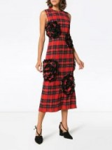 SIMONE ROCHA rose embroidered tartan midi dress / red and black checked fabric / bold floral applique