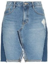 SJYP Patchwork Denim Mini-Skirt | distressed with uneven hem