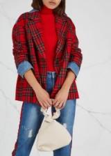SJYP Plaid denim-panelled wool jacket | cool tartan blazer