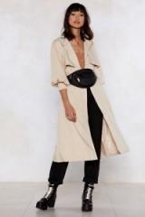 Nasty Gal Sleeve 'Em Wanting More Trench Coat Beige – stylish autumn mac
