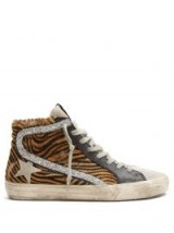 GOLDEN GOOSE DELUXE BRAND Slide high-top leather trainers with silver glitter panel ~ animal prints ~ glamorous luxe sneakers