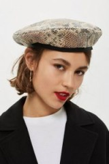 TOPSHOP Snake Effect Beret in Beige / French style