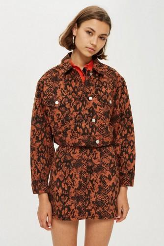 Topshop Snake Print Jacket in rust – reptile prints
