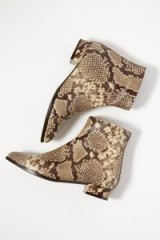 Anthropologie Snakeskin-Print Leather Ankle Boots in Brown Motif