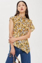 TOPSHOP Spot and Yellow Floral Print Ruffle Blouse / open back / one sleeve / high neck / asymmetric in design