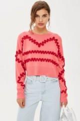 Topshop Squiggle Corduroy Jumper | pink knitwear