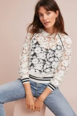 Maeve Stanton Lace Jumper White – semi sheer floral sweatshirt