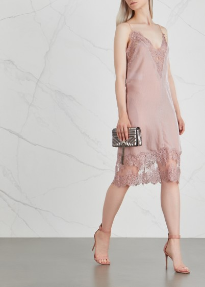 STELLA MCCARTNEY Blush lace-trimmed velvet dress – semi sheer slip
