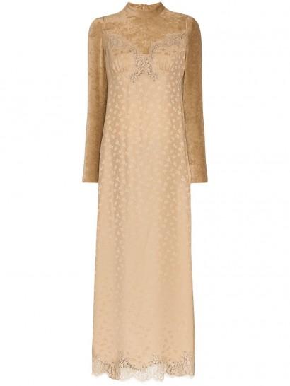 STELLA MCCARTNEY high neck lace velvet silk blend dress – luxe maxi