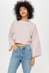 Topshop Stitch Detail Cropped Jumper in Light Pink | wide sleeve sweater