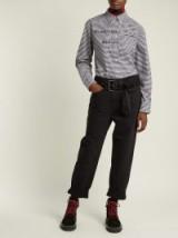 PSWL Straight-leg belted turn-up black denim jeans