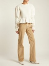 A.W.A.K.E. Straight-leg cotton-corduroy trousers ~ high waist camel cords