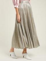 EMILIA WICKSTEAD Sunshine metallic-silver pleated skirt | luxe skirts