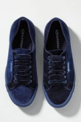 Superga Velvet Glitter Trainers in Navy | blue sneakers | sports luxe footwear