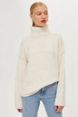 Topshop Supersoft Ribbed Roll Neck Jumper in Oatmeal | neutral knits