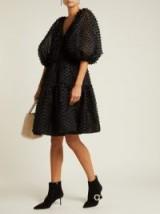 CECILIE BAHNSEN Susannah fil-coupé black organza dress ~ feminine lbd