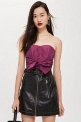 Topshop Taffeta Sweetheart Bandeau Top in Raspberry | strapless party wear