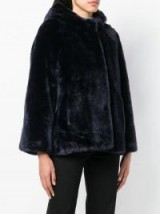 SACAI blue faux fur hooded coat