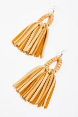 Raven & Riley Tahiti Stone Drop Leather Hoop Earrings tan/light stone / tasseled bohemian jewelry