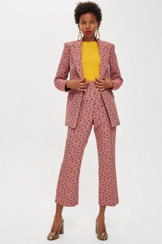 Topshop TALL Floral Jacquard Suit in pink – trouser suits